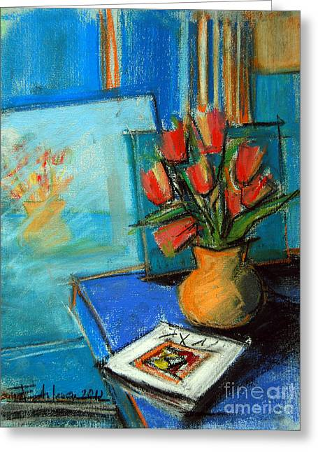 Tulips In The Mirror Greeting Card