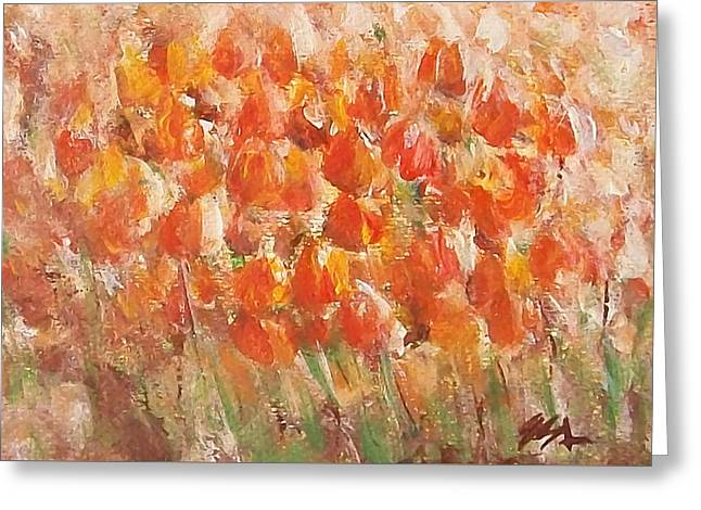 Greeting Card featuring the painting Tulips by Jane  See