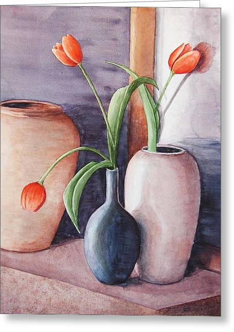 Tulips Greeting Card by Laura Sapko