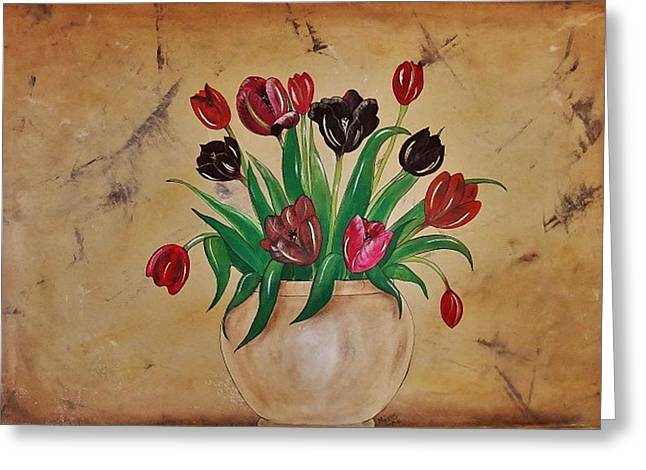 Greeting Card featuring the painting Tulips Of Tuscany 57x41 by Cindy Micklos