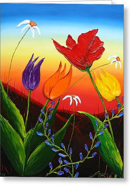 Tulips Of Woodburn Oregon Greeting Card by Portland Art Creations