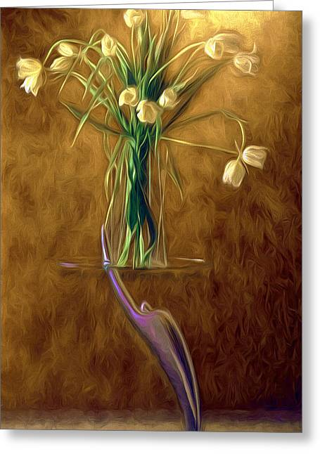 Tulips Greeting Card by Peter Hogg