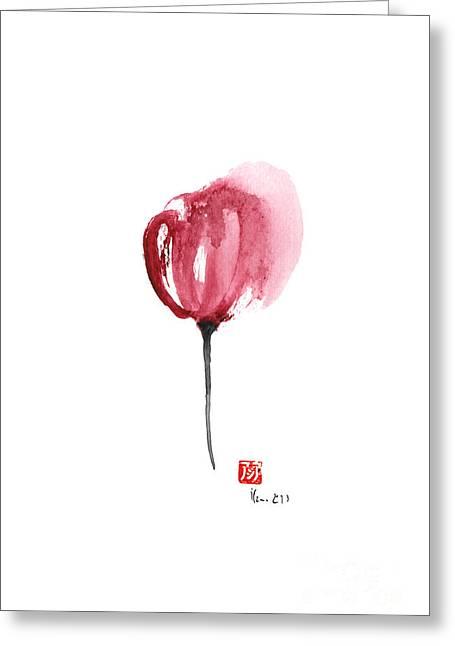 Tulips Purple Flowers Pink Black Tulip Flower Watercolor Painting Greeting Card