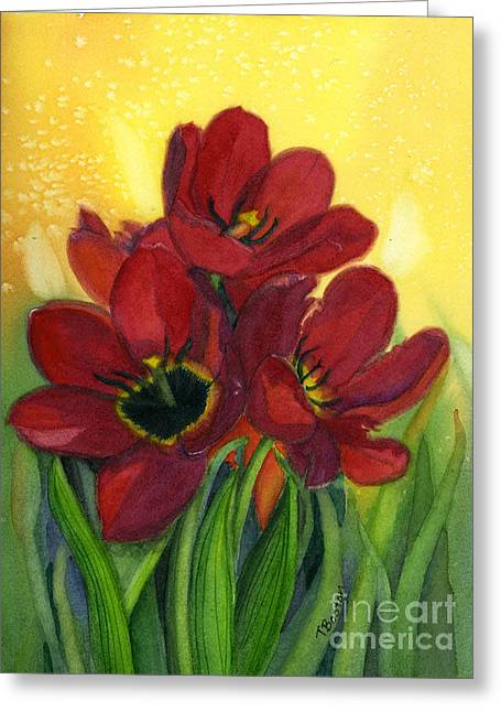 Tulips Greeting Card by Teresa Boston