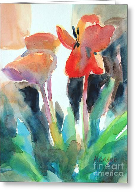 Greeting Card featuring the painting Tulips Together by Kathy Braud