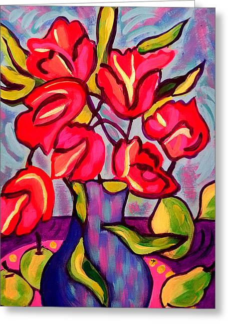 Tulips With Fruit Greeting Card
