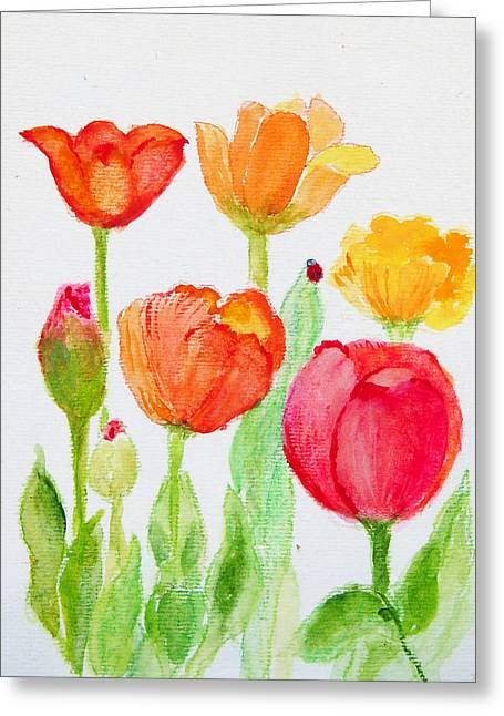 Tulips With Lady Bug Greeting Card by Ashleigh Dyan Bayer