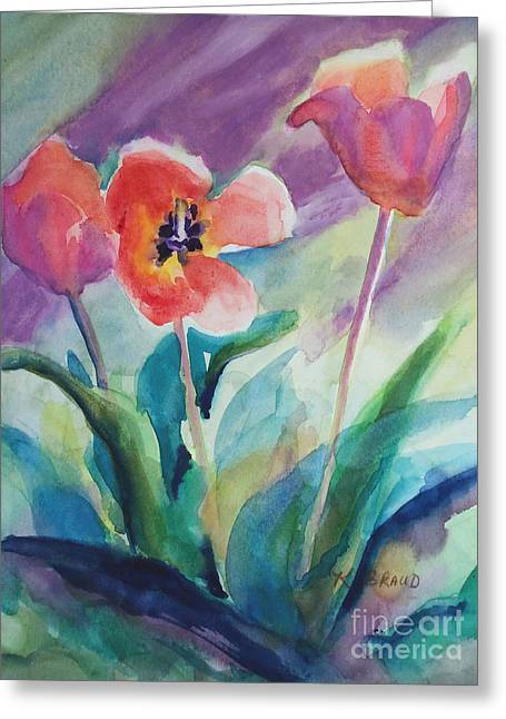 Tulips With Lavender Greeting Card by Kathy Braud