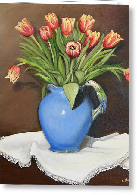 Greeting Card featuring the painting Tullips In Parrot Pitcher by Sandra Nardone