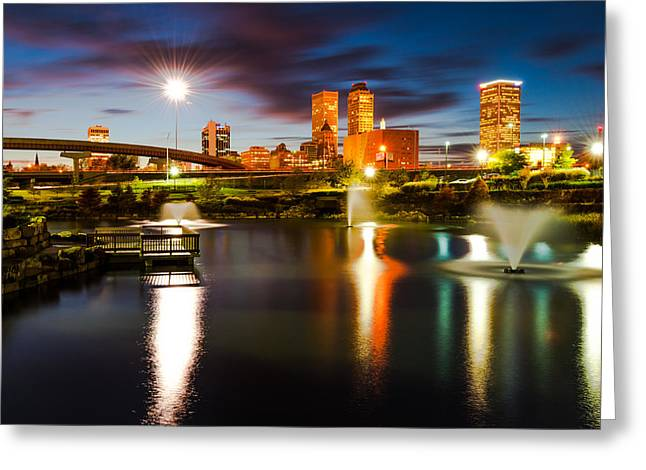 Tulsa Oklahoma City Lights Greeting Card by Gregory Ballos