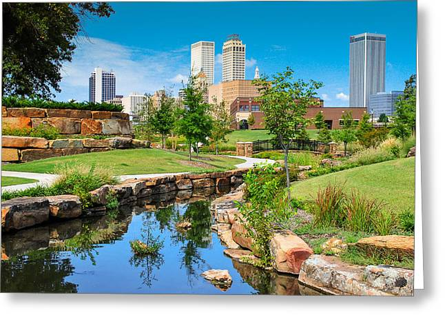Tulsa Oklahoma Skyline View From Central Centennial Park Greeting Card by Gregory Ballos