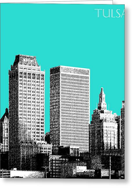 Tulsa Skyline - Aqua Greeting Card by DB Artist