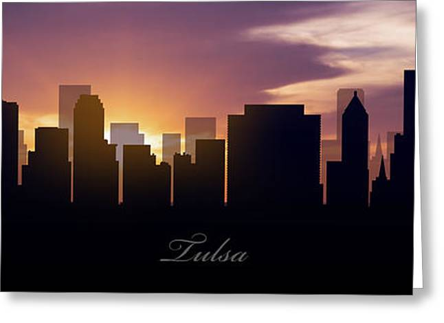 Tulsa Sunset Greeting Card by Aged Pixel