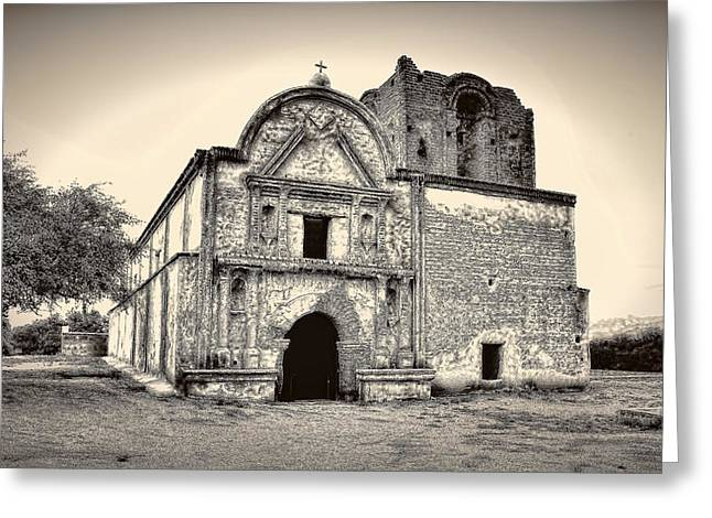 Greeting Card featuring the photograph Tumacacori  Mission ... by Chuck Caramella