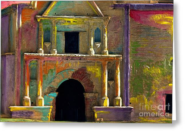 Tumacacori Mission Greeting Card by Cindy McIntyre