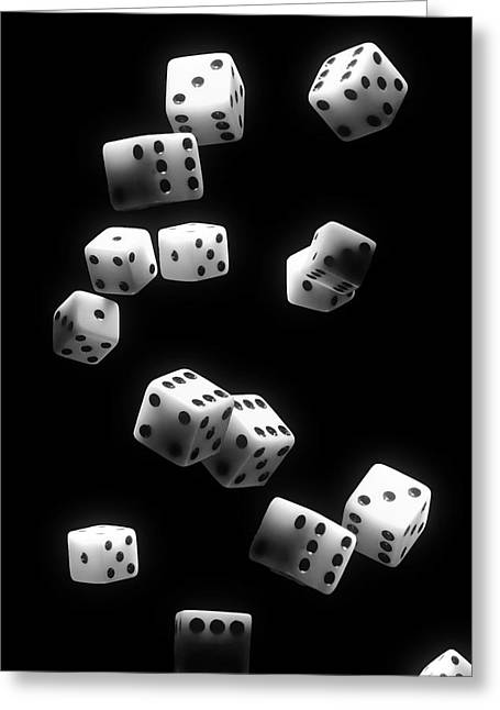Tumbling Dice Greeting Card by Tom Mc Nemar