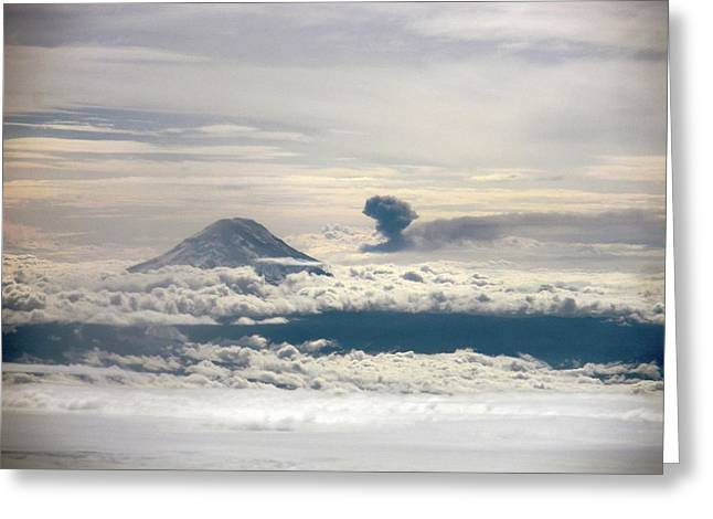 Tungurahua Volcano Erupting Greeting Card by Nasa
