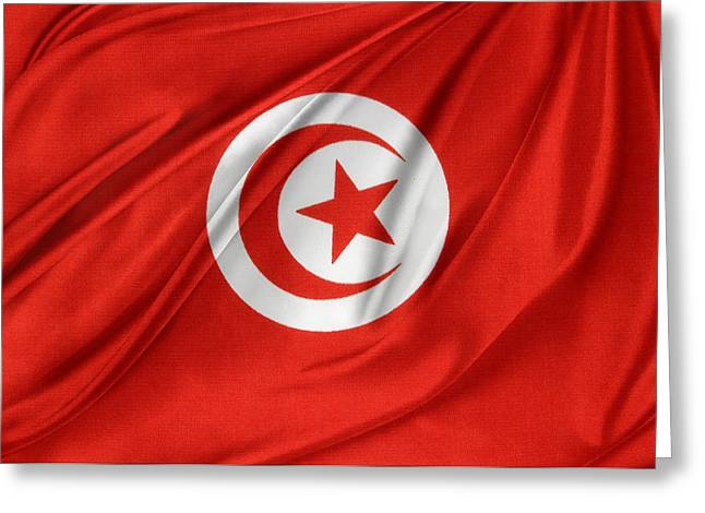 Tunisia Flag Greeting Card by Les Cunliffe