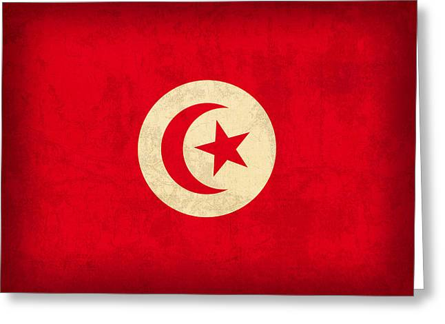 Tunisia Flag Vintage Distressed Finish Greeting Card by Design Turnpike