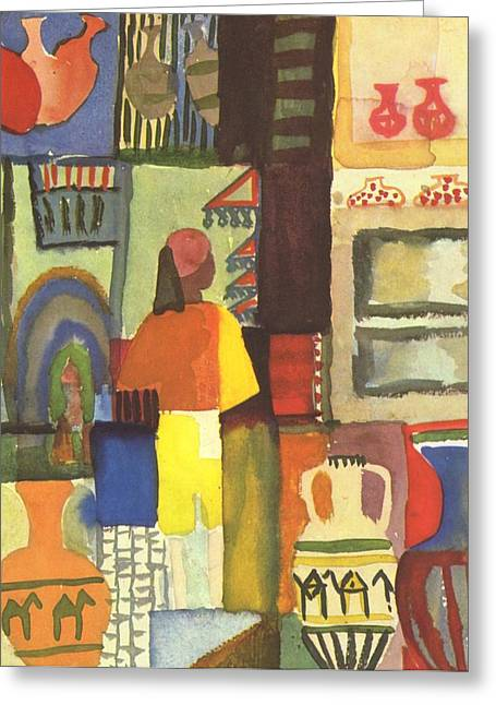 Tunisian Market Greeting Card by August Macke