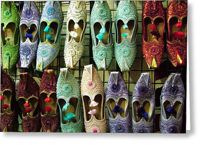 Greeting Card featuring the photograph Tunisian Shoes by Donna Corless