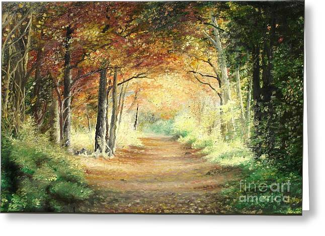 Greeting Card featuring the painting Tunnel In Wood by Sorin Apostolescu