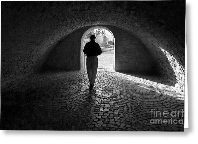 Tunnel Silhouette Bw Greeting Card