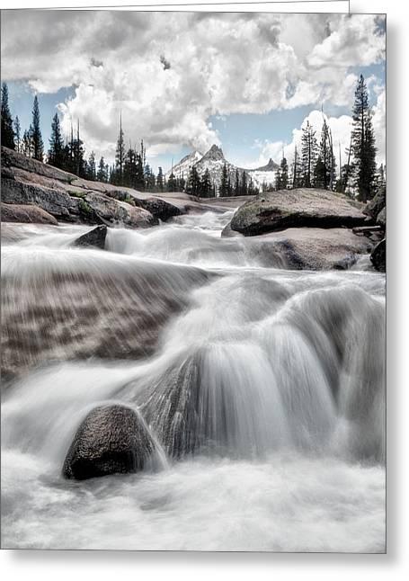 Tuolumne River And Unicorn Peak Greeting Card