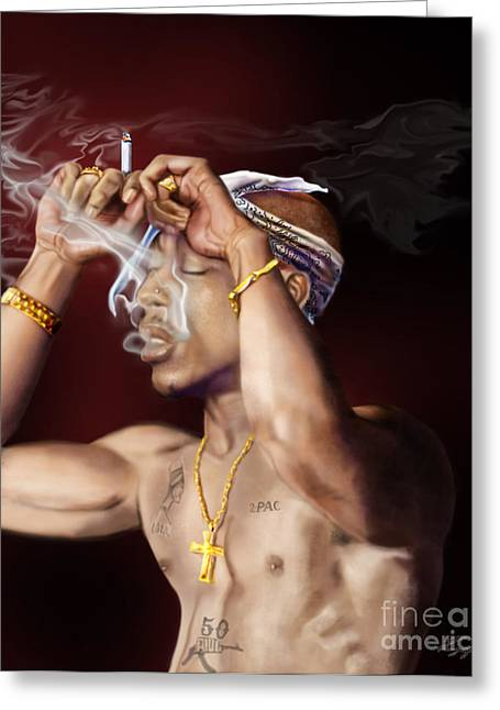 Tupac - Burning Lights Series  Greeting Card