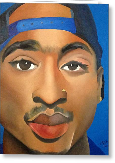 Tupac Greeting Card by Chelsea VanHook