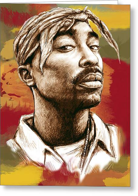 Tupac Shakur Stylised Drawing Art Poster Greeting Card by Kim Wang
