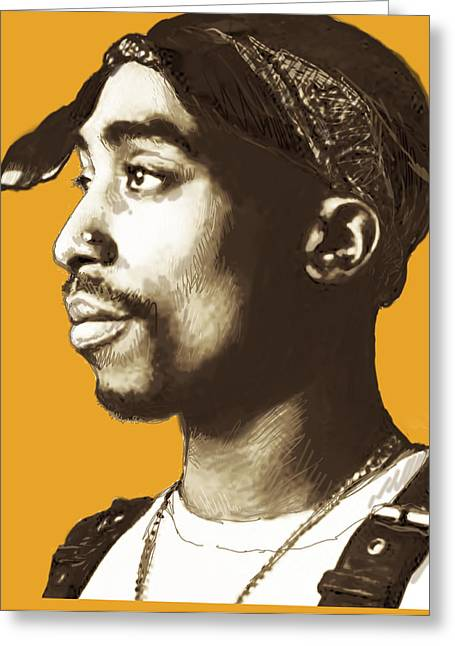 Tupac Shakur Stylised Pop Art Poster Greeting Card by Kim Wang