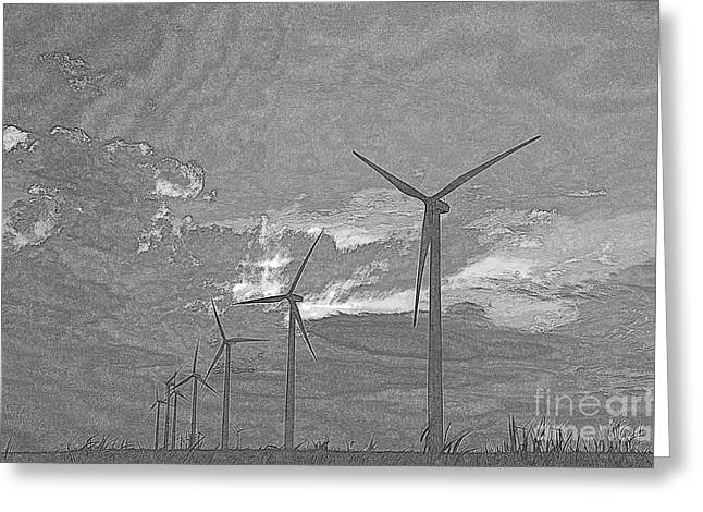 Greeting Card featuring the photograph Turbines In Pencil by Jim McCain