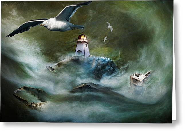 Turbulence At Irving Lighthouse Greeting Card