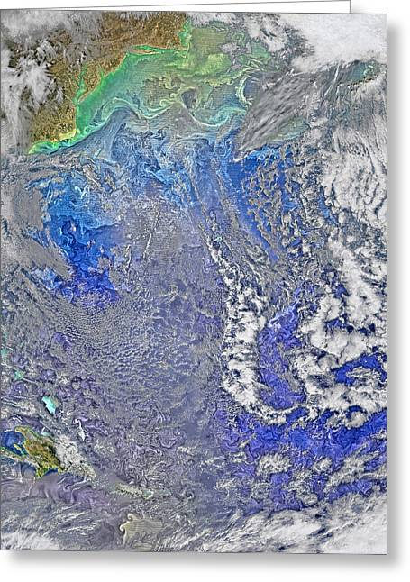 Turbulence In The Atlantic Ocean Greeting Card by Science Source