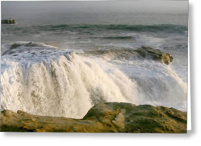Turbulent Sea Greeting Card by Art Block Collections