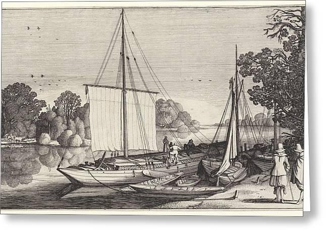 Turf Boats Along A Quay, Jan Van De Velde II Greeting Card by Jan Van De Velde (ii)