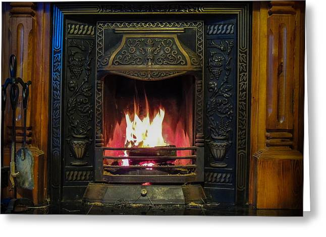 Turf Fire In Irish Cottage Greeting Card