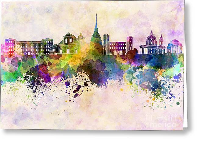 Turin Skyline In Watercolor Background Greeting Card