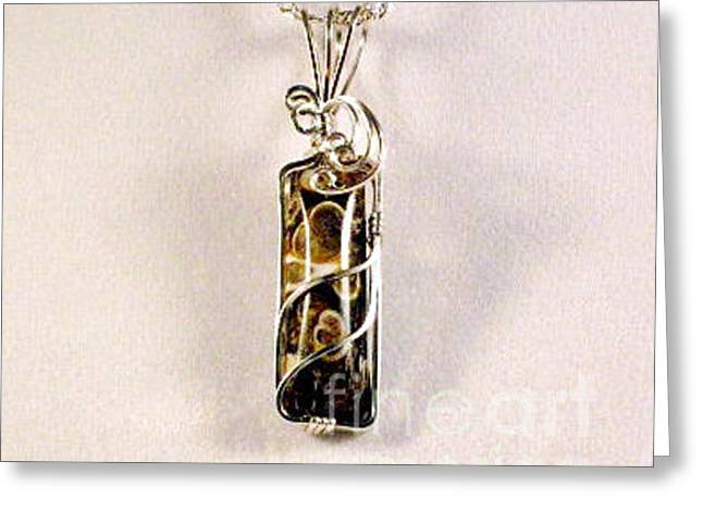 Turitella Natural Stone Pendant In Sterling Greeting Card by Holly Chapman