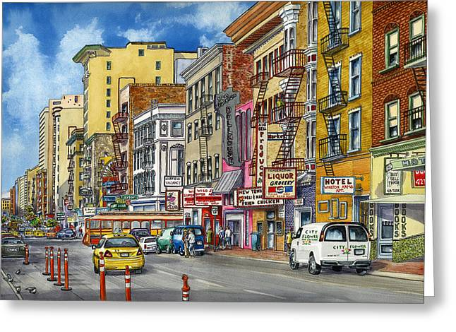 Turk Street San Francisco Greeting Card by Karen Wright