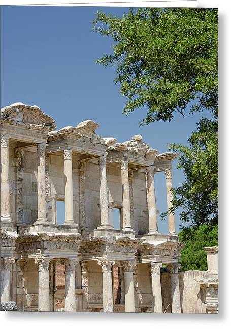Turkey, Ephesus Celsus Library, Built Greeting Card by Cindy Miller Hopkins