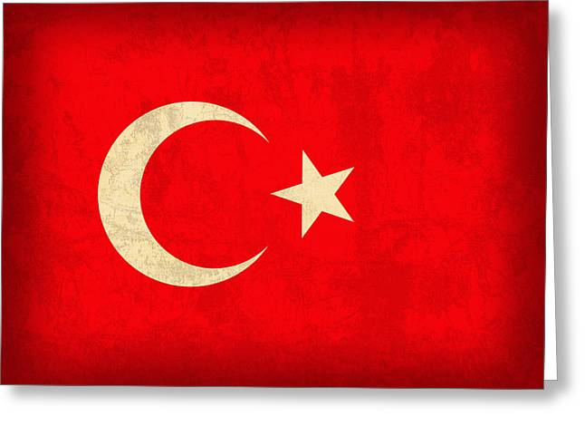 Turkey Flag Vintage Distressed Finish Greeting Card