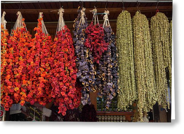 Turkey, Gaziantep, Medina, Spice Market Greeting Card by Emily Wilson