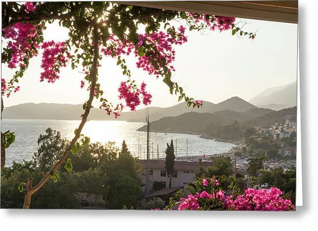 Turkey, Kas Sunset Over Kas Kas Greeting Card