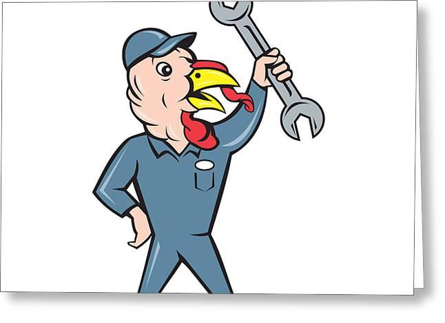 Turkey Mechanic Spanner Isolated Cartoon Greeting Card by Aloysius Patrimonio
