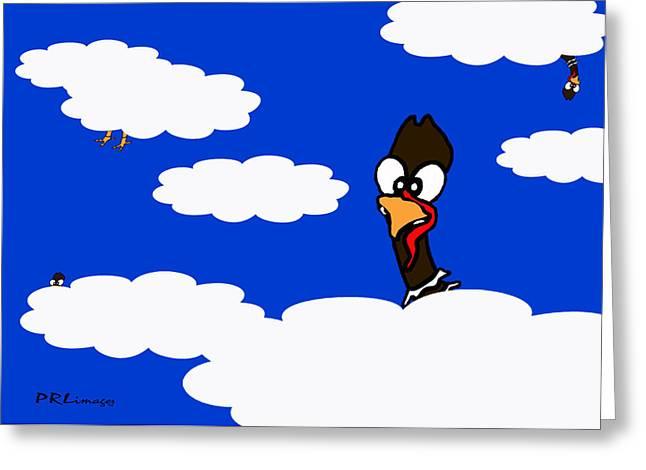Turkeys In Flight Greeting Card