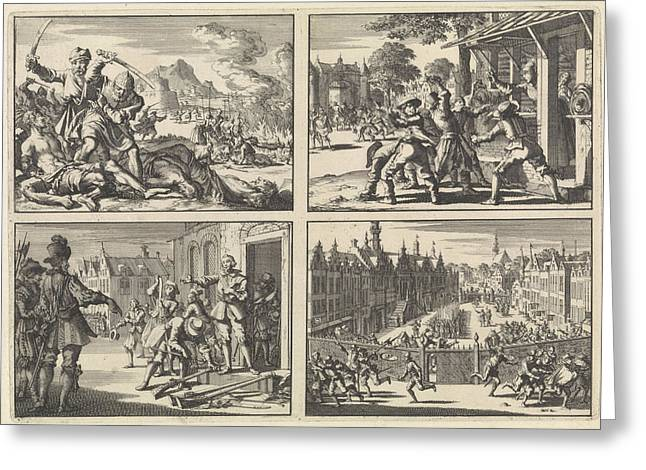 Turkish Atrocities In The Area Around Venice, 1614  Houses Greeting Card