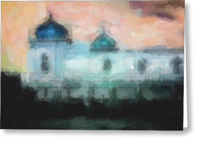 Turkish Bathhouse In Abstrac Watercolors Greeting Card