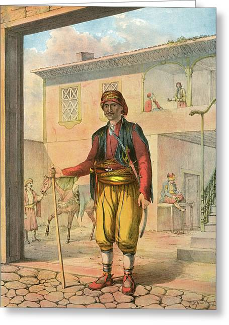 Turkish Cavass, An Armed And Uniformed Attendant Attached Greeting Card by Artokoloro